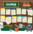 2017 Calendar Starts Sunday Gardening Concept vector image vector image