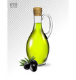 a jar with olive oil and some black olives vector image