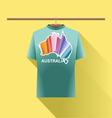 Aqua shirt with colored australia logo country vector image