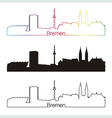Bremen skyline linear style with rainbow vector image vector image