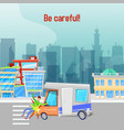 car accident on road in city vector image