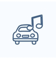 Car with music note sketch icon vector image vector image