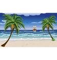 Cartoon boat and beach2 vector image vector image
