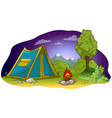 cartoon camping tent and campfire on grass lawn vector image