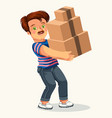 cartoon man with cardboard box colorful poster vector image vector image