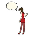 cartoon woman waving with thought bubble vector image vector image