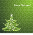 christmas tree on graceful green background vector image