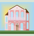 classic architecture facade of a pink house vector image vector image