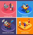clothes factory 4 isometric icons vector image vector image