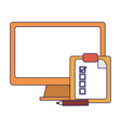 computer and clipboard tasks blue lines vector image vector image