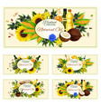 cooking oil of olive ad sunflower seeds vector image