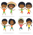 cute african-american couples jumping outdoor vector image vector image