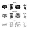 design of market and exterior icon set of vector image