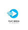 fast play media logo design template circle play vector image