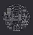 financial accounting circle poster flat line icons vector image vector image