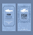 fish menu colorful cards with white silhouettes vector image