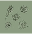 floral design elements hand-drawn vector image