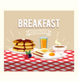 fried eggs with pancakes and orange juice vector image vector image