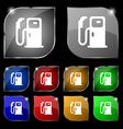 Fuel icon sign Set of ten colorful buttons with vector image
