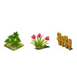 garden flowers and fence game user interface vector image vector image