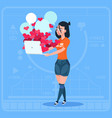 girl blogger hold laptop with many likes modern vector image vector image