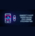 glowing neon sign healthy mobile app with vector image vector image