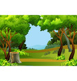 green forest scene background vector image vector image
