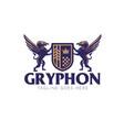 gryphon crest logo emblem style vector image vector image