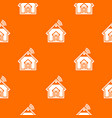 home pattern orange vector image vector image