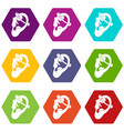 human ear with piercing icon set color hexahedron vector image vector image