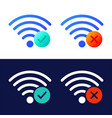 icon set wireless wifi symbols with check mark vector image vector image