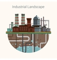 Industrial factory buildings set in flat design vector image vector image