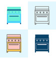 kitchen stove icon set in flat and line styles vector image