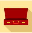 leather suitcase icon flat style vector image