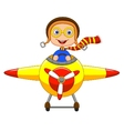 Little Boy cartoon Operating a Plane vector image