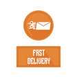 logo of fast delivery emblem hot letter vector image