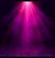 magenta spotlights fog smoke scene disco light vector image