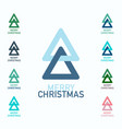 merry christmas symbols set xmas trees logo icons vector image