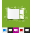 mobile paper sticker with hand drawn elements vector image vector image