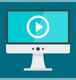 monitor video play icon flat style vector image vector image