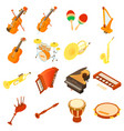 musical instruments icons set isometric style vector image vector image