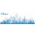 outline valencia skyline with blue buildings vector image vector image