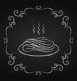 pasta icon drawn chalk on a blackboard vector image vector image