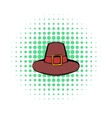 Pilgrim hat icon comics style vector image vector image