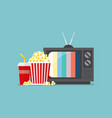 popcorn snack and drink with retro television vector image
