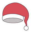 santa claus christmas hat on colorful silhouette vector image vector image