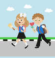 schoolboy and schoolgirl with satchels girl with vector image vector image
