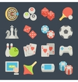 set game icons in flat design style vector image
