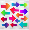 set of colorful straight arrows vector image
