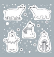 set of icons of polar bears vector image